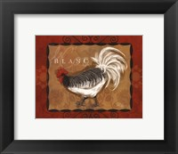 Rooster Blanc Framed Print