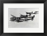 Framed Four fighter planes in flight, P-38 Lightning