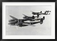 Framed Four fighter planes in flight, P-38 Lightning