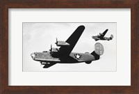 Framed Low angle view of two bomber planes in flight, B-24 Liberator