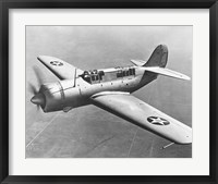Framed High angle view of a fighter plane in flight, Curtiss SB2C Helldiver, December 1941