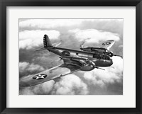 Framed US Army fighter plane in flight