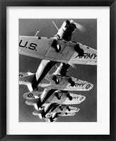 Framed Low angle view of five fighter planes flying in formation