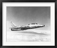 Framed Side profile of a fighter plane in flight, F-100C Super Sabre