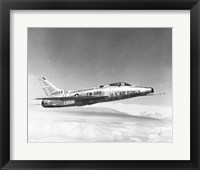Framed Side profile of a fighter plane in flight, F-100C Super Sabre