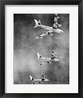 Framed Low angle view of three fighter planes in flight, B-47 Stratojet