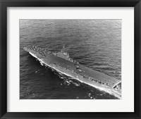 Framed High angle view of an aircraft carrier in the sea, USS Princeton (CV-37), Gulf of Paria
