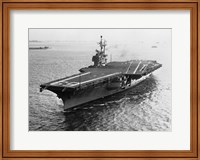 Framed High angle view of an aircraft carrier in the sea, USS Forrestal (CVA-59)