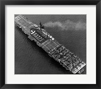 Framed High angle view of an aircraft carrier in the sea, USS Boxer (CV-21), 1951