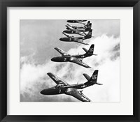 Framed High angle view of fighter planes in flight, Mcdonnell FH-1 Phantom