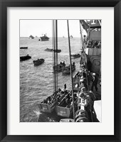 Framed High angle view of army soldiers in a military ship, Normandy, France, D-Day, June 6, 1944