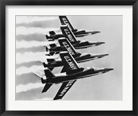 Framed Four fighter planes flying in a formation, Blue Angels, US Navy Precision Flight Team