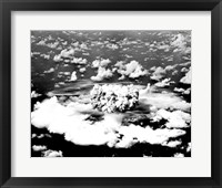 Framed Aerial view of an atomic bomb explosion, Bikini Atoll, Marshall Islands