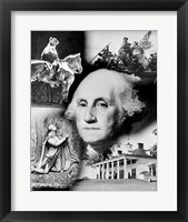 Framed George Washington's face superimposed over a montage of pictures depicting American history, USA