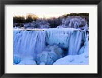 Framed Waterfall frozen in winter, American Falls, Niagara Falls, New York, USA