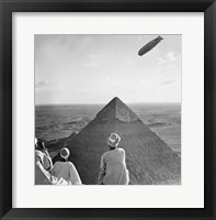 Framed Graf Zeppelin's Rendezvous with Pyraminds of Gizeh, Egypt