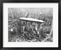Framed USS Los Angeles Airship Over Manhattan