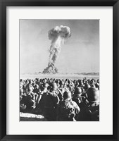 Framed Atomic Bomb Testing in a Desert, Camp Desert Rock, Las Vegas, Nevada, USA