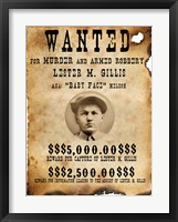 Framed Baby Face Nelso Wanted Poster