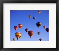 Framed Large Group of Hot Air Balloons Flying