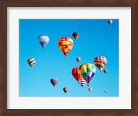 Framed Group of Hot Air Balloons Floating Together in Albuquerque, New Mexico