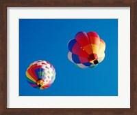 Framed Two Hot Air Balloons Flying Away