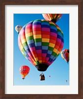 Framed Gorgeous Rainbow Hot Air Balloon