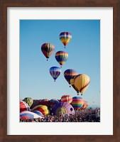 Framed Low Angle View Of Colorful Hot Air Balloons In The Sky , Albuquerque International Balloon Fiesta, Albuquerque, New Mexico, USA