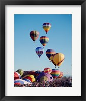 Framed Low Angle View Of Colorful Hot Air Balloons In The Sky , Albuquerque International Balloon Fiesta, Albuquerque, New Mexico, USA