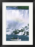 Framed Boat in front of a waterfall, American Falls, Niagara Falls, New York, USA
