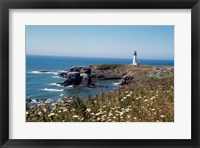 Framed Lighthouse on the coast, Yaquina Head Lighthouse, Oregon, USA