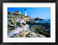 Framed Lighthouse at the coast, Portland Head Lighthouse, Cape Elizabeth, Maine, USA