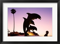Framed Dolphin Fountain on Stearns Wharf, Santa Barbara Harbor, California, USA