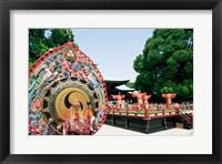 Framed Decorative drum in front of a building, Meiji Jingu Shrine, Tokyo, Japan