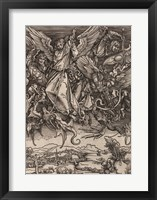 Framed St. Michael Fighting the Dragon by Albrecht Durer, 1498