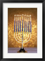 Framed Close-up of lit candles on a menorah