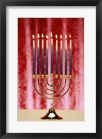 Framed Close-up Of Lit Candles On A Menorah On Red