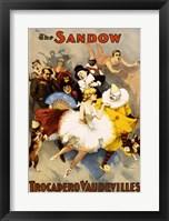 Framed Sandow Trocadero Vaudevilles, Performing Arts Poster, 1894