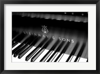 Framed Steinway & Sons, Piano Keys With Modern Logo
