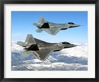 Framed Two F-22 Raptor in Flying