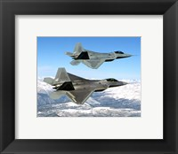 Framed Two F-22 Raptor in Flying