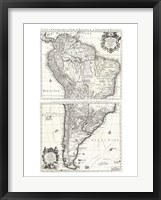 Framed 1730 Covens and Mortier Map of South America