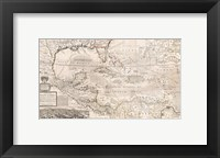 Framed 1732 Herman Moll Map of the West Indies, Florida, Mexico, and the Caribbean