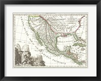 Framed 1810 Tardieu Map of Mexico, Texas and California