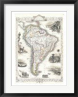 Framed 1850 Tallis Map of South America