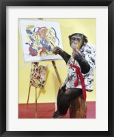 Framed Monkey Artist