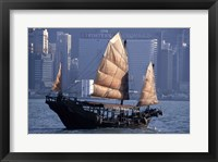 Framed Chinese Junk sailing in the sea, Hong Kong Harbor, Hong Kong, China