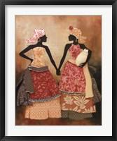 Framed Village Women I