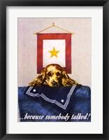 Framed Sad Puppy Propoganda Poster, 1944