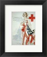 Framed Harrison Fisher WWI American Red Cross Poster